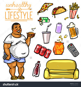 stock-vector-unhealthy-lifestyle-hand-drawn-cartoon-collection-215056003